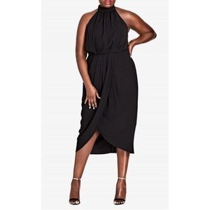 City Chic Black Halter Top Romantic Dress